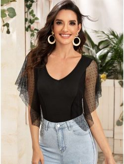 Dobby Mesh Butterfly Sleeve Top