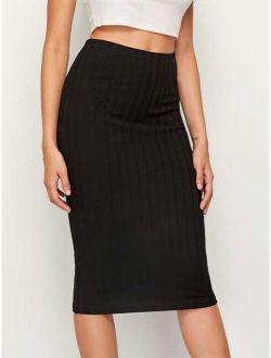 Elastic Waist Rib-knit Pencil Skirt