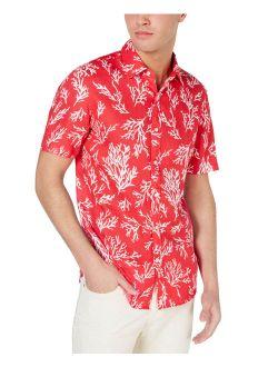 Mens Slim-fit Coral-print Linen Shirt (sea Coral, Xl)
