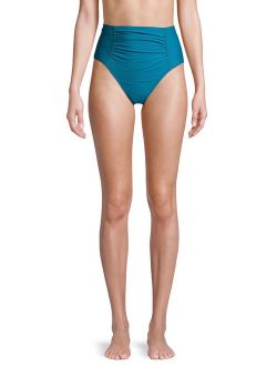 Women's Odes Sea Solid Rouched Highwaist Swimsuit Bottom