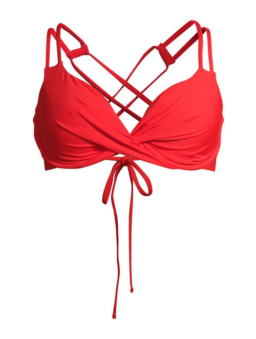 Time and Tru Women's Red Twist Front Solid Swimsuit Top