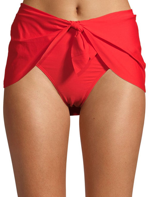 Time and Tru Women's Solid Knotted Skirt Swimsuit Bottom