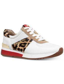 Mk Women's Allie Trainer Leather Sneakers Shoes Natural Cheetah (5)