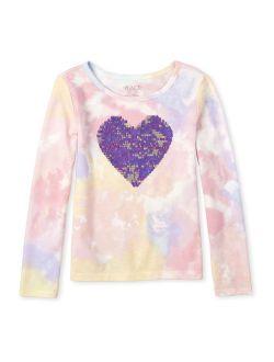 Girls 4-14 Reversible Flip Sequin Tie Dye Long Sleeve T-shirt