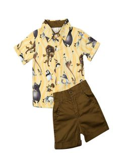 Toddler Baby Boy Shorts Outfits Summer Cartoon Animals Lions Printed Short Slee