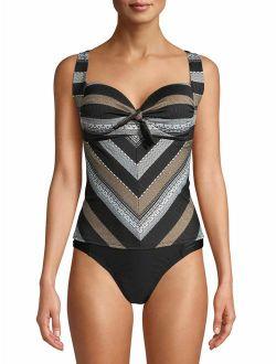 Women's Tulum Texture Stripe Tankini Swimsuit Top
