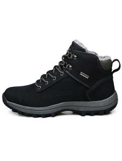 Men's Winter Warm Snow Boots Faux Fur Lined Lace Up Work Hiking Trainer Shoes