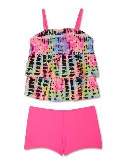 Girls 4-18 & Plus Tie Dye Tiered Tankini Boyshort Swimsuit