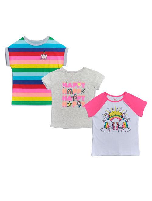 365 Kids from Garanimals Girls 4-10 Graphic Raglan, Ringer and Striped T-Shirts, 3-Pack