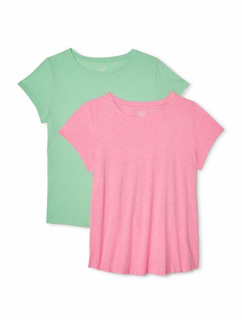 Wonder Nation Girls 4-18 & Plus Kid Tough Crew Neck T-Shirts, 2-Pack