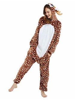 ABENCA Deer Onesie Reindeer Pajamas for Women Adult Cartoon One Piece Animal Halloween Christmas Cosplay Costume