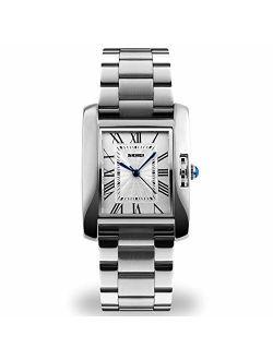 Women Lady Dress Analog Quartz Watch with Stainless Steel Band, Casual Fashion Waterproof Watches Roman Numeral Diamond Rhinestone Luminous Wristwatch (Silver)