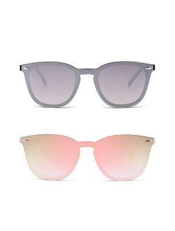 JIM HALO Trendy Rimless Sunglasses Mirror Reflective Sun Glasses for Women Men