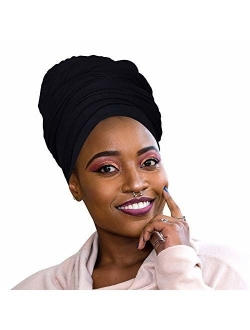 Novarena 30 Solid Colors Soft Stretch Headwraps Headband Long Hair Head Wrap Scarf Turban Tie Jersey Knit African head wraps