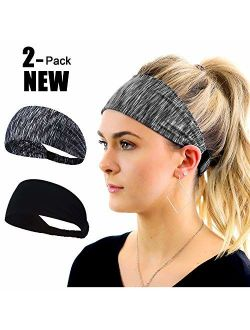 Workout Headband for Women Men - Non slip Sweatband - Stretchy Soft Elastic Head Band - Sports Fitness Exercise Tennis Running Gym Dance Yoga