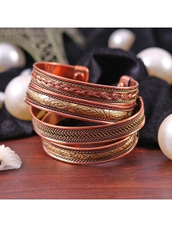 cosynee Set of 4 Tibetan Copper Bracelets Magnetic India Pattern Women's Men's Spiritual Yoga Jewelry