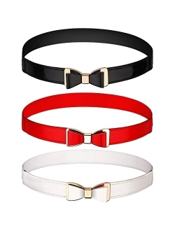 Tatuo 3 Pieces Women Skinny Waist Belt Thin Stretchy Bow Belt for Dress, 3 Colors (Set 1)