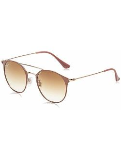 Rb3546 Round Metal Sunglasses, Brown On Gold/blue Gradient Flash, 52 Mm