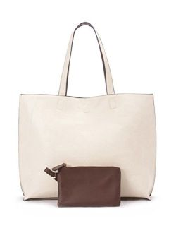 Overbrooke Reversible Tote Bag - Vegan Leather Womens Shoulder Tote with Wristlet