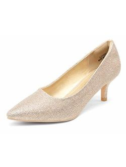 VEPOSE Women's Glitter Low Heels Dress Pumps