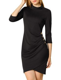 Women's Work 3/4 Sleeve Stretchy Ruched Pencil Bodycon Short Dress L Black