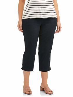 Women's Plus Size Pull On Elastic Waist Cropped Pant With Snap Hem Detail