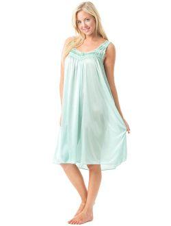 Women's Satin Lace Sleeveless Night Gown