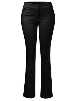 Made by Olivia Women's High Waist Comfy Stretchy Bootcut Trouser Pants Black 3XL