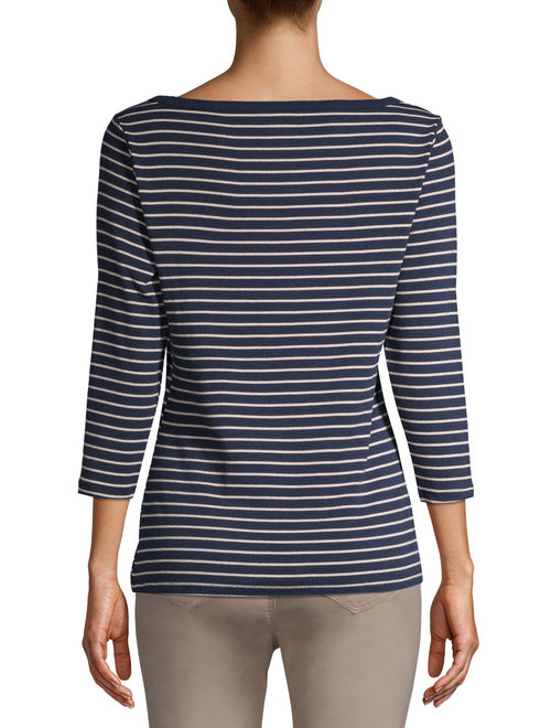Time and Tru Women's 3/4 Sleeve Boatneck T-Shirt