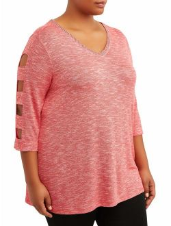 Women's Plus Size 3/4 Sleeve V-neck Caged Detail Top