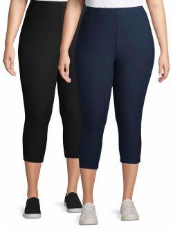 Women's Plus Super Soft Capri Legging 2 Pack Bundle