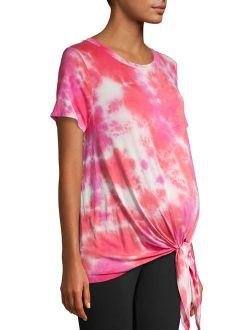 Maternity Short Sleeve Tie Front Tie Dye T-shirt