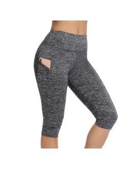 Women Yoga Capris High Waist Tummy Control Power Flex Pockets Workout Running Fitness Leggings