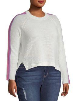 Derek Heart Juniors' Plus Striped Sleeve Cropped Sweater