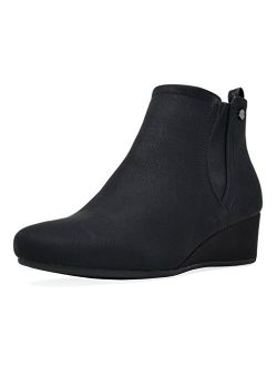 Black Synthetic Wedge Ankle Boots