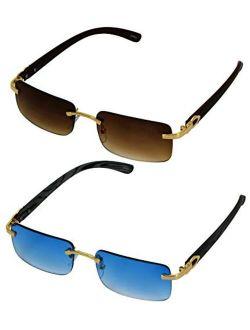 Elite Slim Rimless Rectangular Metal & Wood Art Aviator Sunglasses