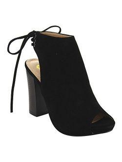 Ec79 Women's Lace Up High Block Heel Ankle Booties