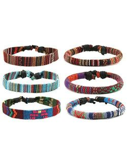 Mix 6 Wrap Bracelets Men Women, Hemp Cords Ethnic Tribal Bracelets Wristbands