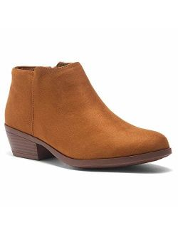 Chatter Women's Western Ankle Bootie Closed Toe Casual Low Stacked Heel Boots