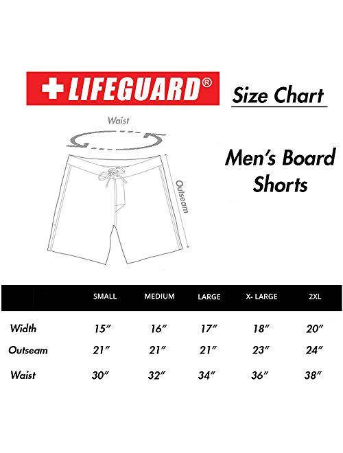 LIFEGUARD Officially Licensed Red Men's Board Shorts Swim Trunks with Side Pocket, Men and Boys, Great for Beach & Pool