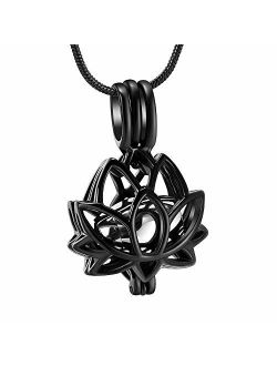 Cremation Jewelry Urn Pendant Necklace with Hollow Urn Cremation Jewelry for Ashes Lotus Flower Shape