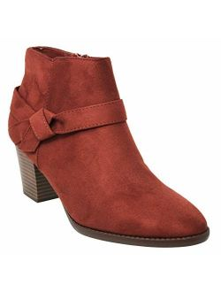 MVE Shoes Womens Stylish Comfortable Low Block Heel Side Zipper Ankle Boot