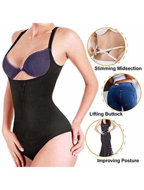 Nebility Women Latex Waist Trainer Bodysuit Slim Zipper and Hook Shapewear Open Bust Corset