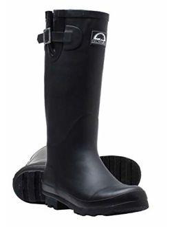 Brown Oak Womens Rebecca Waterproof Adjustable Wellington Mid Calf Rubber Rain Boots