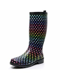SOLARRAIN Women's Tall Rubber Rain Boots for Ladies Wide Calf Waterproof Anti Slip Garden Shoes Durable Insulated Snow Galoshes