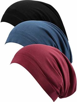 SATINIOR 3 Pieces Satin Lined Sleep Cap Hat Slouchy Beanie Slap Hat for Women