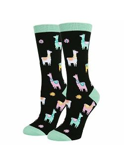 HAPPYPOP Funny No Drama Llama Cotton Crew Socks Novelty Crazy Cute Animal Design