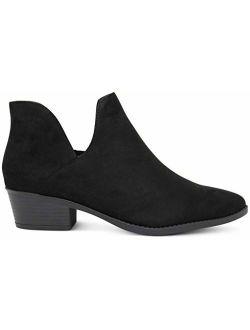 MARCOREPUBLIC Frankfurt Cut-Out Side Western Cowboy Womens Medium Low Heels Ankle Booties Boots