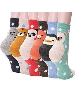 Casual Womens Design Socks - Premium Quality Cotton Blend Cute Animals Art Pattern Universal Size Comfortable