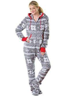 PajamaGram Hoodie-Footie One Piece Pajamas for Women - Fleece Womens Onesie
